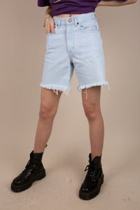 Model wearing Lee Denim Shorts, magichollow