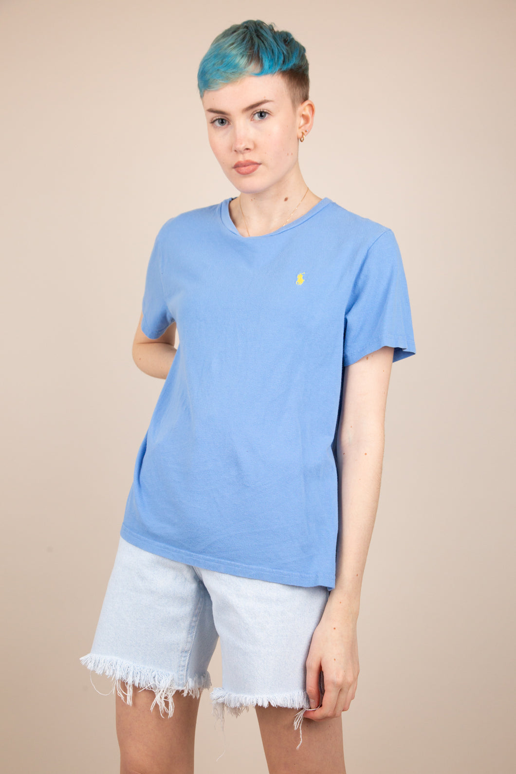 periwinkle blue ralph lauren tee with yellow embroidered logo on left chest