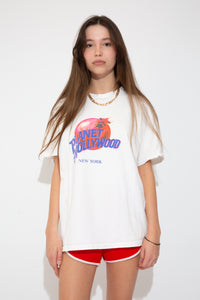 Model wearing Planet Hollywood tee, magichollow