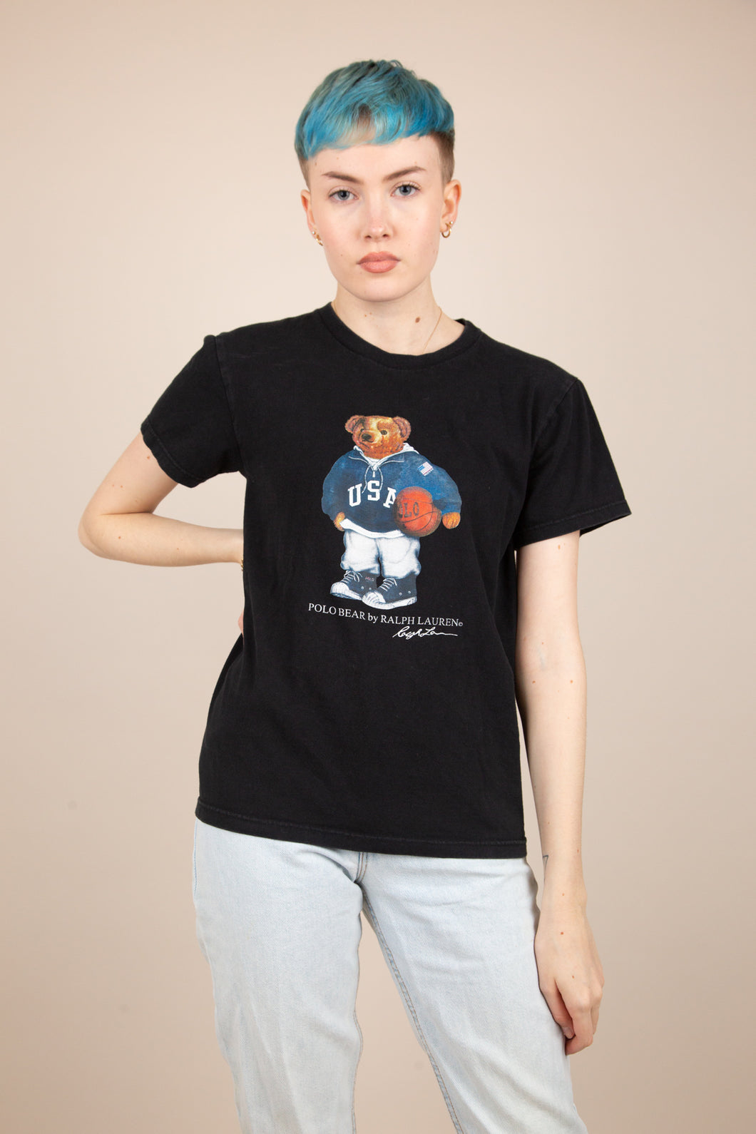 Model wearing Ralph Lauren Bear Tee, magichollow