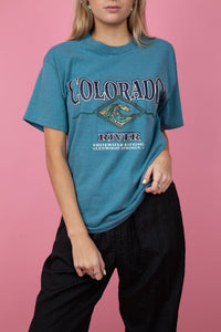 Vintage colorado river tee in a dark blue/teal colour. 90's. magichollow