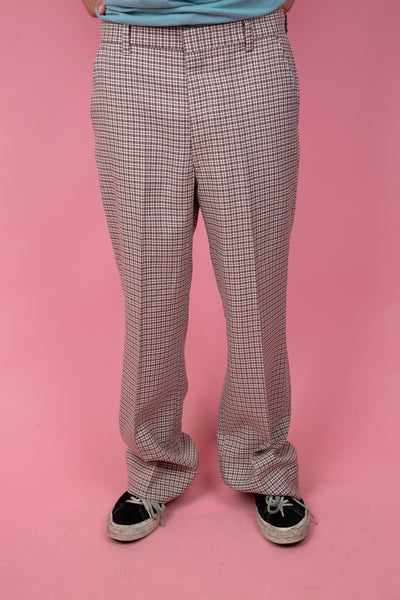 straight leg plaid pants