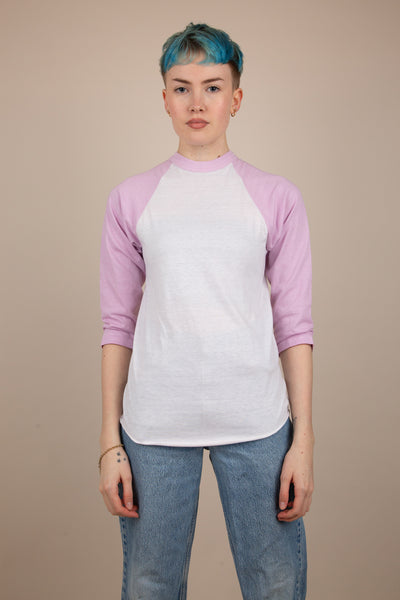 pink and white raglan sleeve top