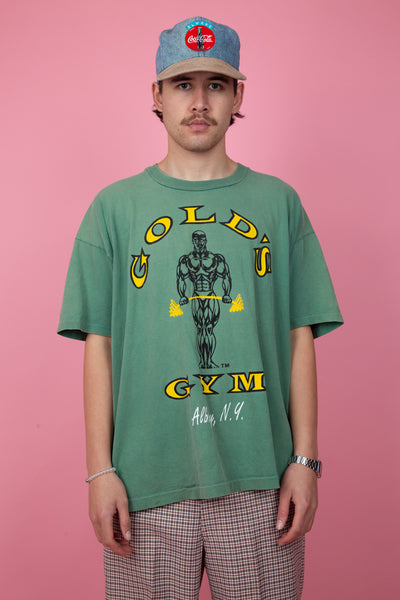 green oversize gold's gym tee