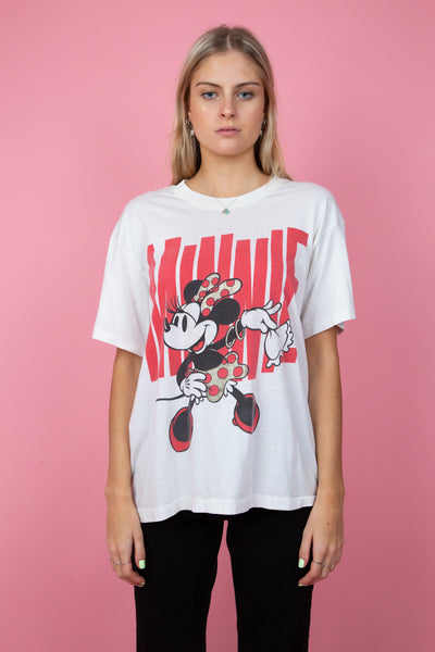 white tee with red minnie mouse print - magichollow
