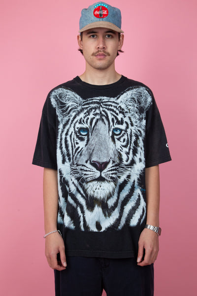 black vintage tee with large white tiger graphic on front and 'extinction is forever' text on back - magichollow