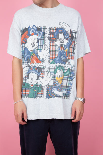 Thick light grey mickey and friends graphic tee.