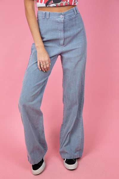 Faded blue coruroy wide-leg pants. 90's vintage. magichollow