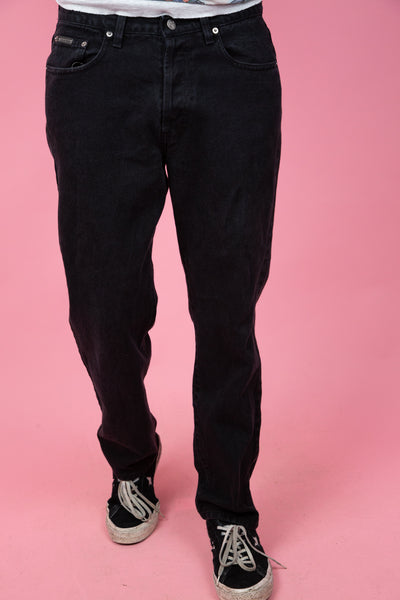 thick black ck jeans. magichollow