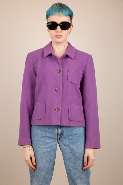 purple cropped fit blazer