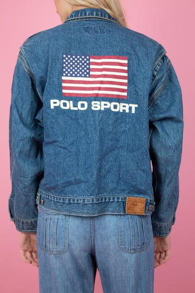 mid-wash denim jacket with USA flag and ralph lauren on the back- magichollow