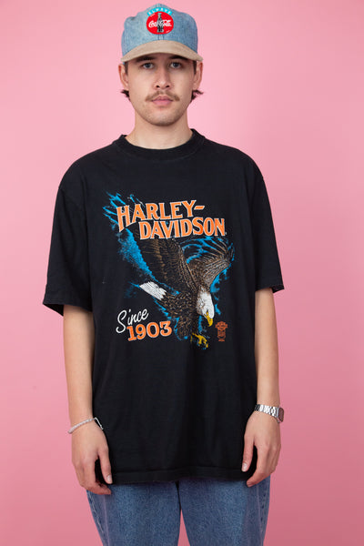 vintage black harley davidson tee with front and back graphic - magichollow