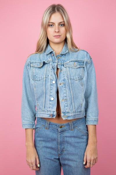 Small guess denim Jacket in a light blue denim wash - magichollow