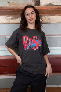 Model wearing red sox tee, magichollow
