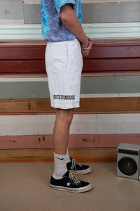 grey marle cotton shorts with mickey graphic and spell-out on legs