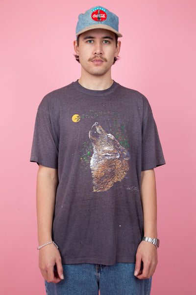 distressed tee with epic wolf graphic