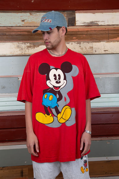 oversized red tee with large mickey graphic on front