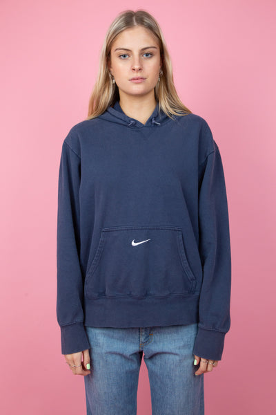 Navy blue hoodie with nike tick - magichollow