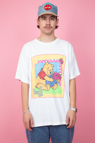 white vintage tee with winnie-the-pooh graphic on front - magichollow