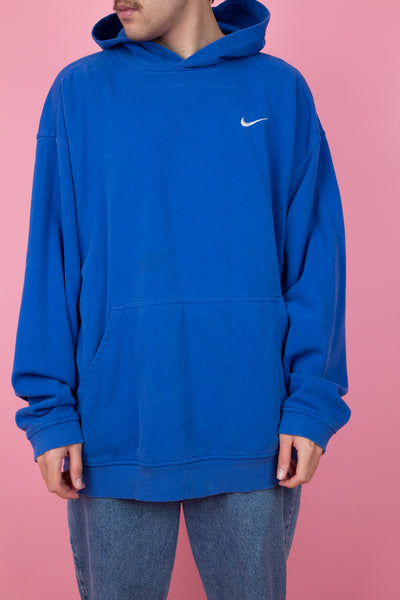 oversized cobalt blue nike hoodie with embroidered tick
