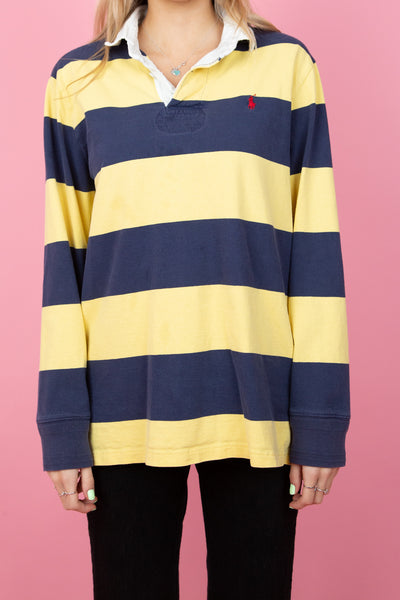 yellow and navy horizontally striped ralph lauren rugby. magichollow