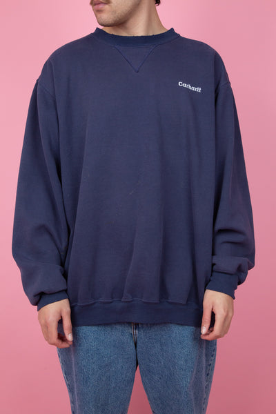 baggy navy distressed carhartt crewneck - vintage - magichollow