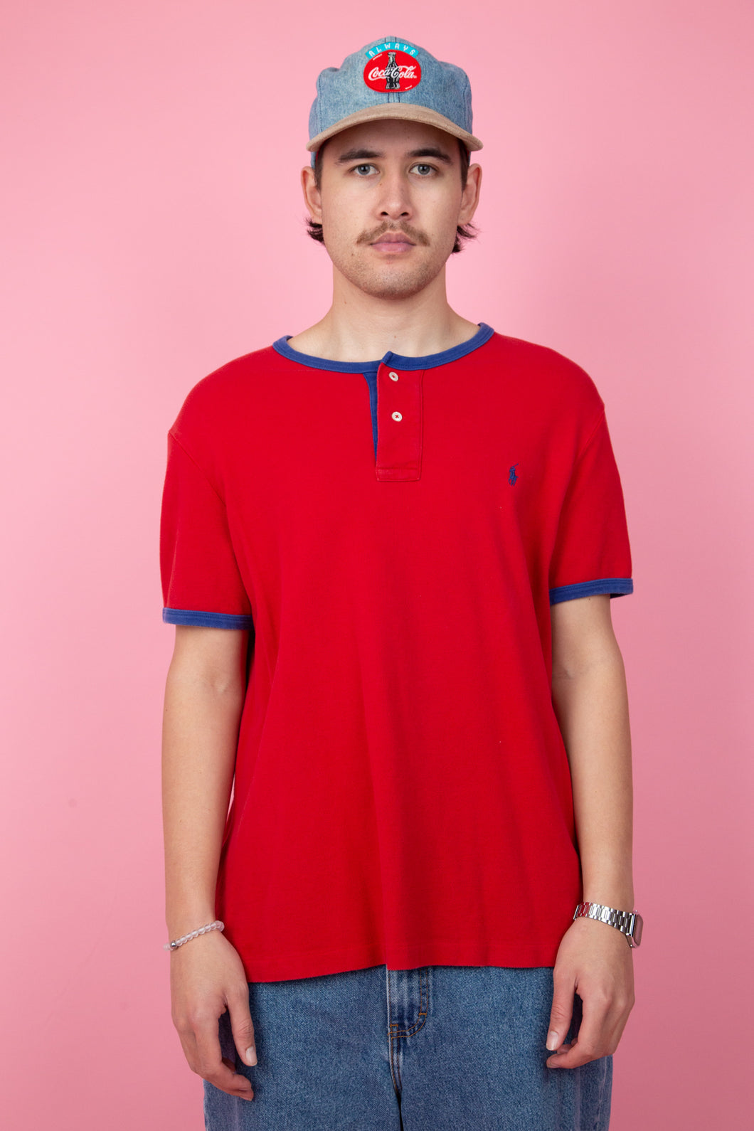 red ralph lauren tee with indigo piping and embroidered detailing