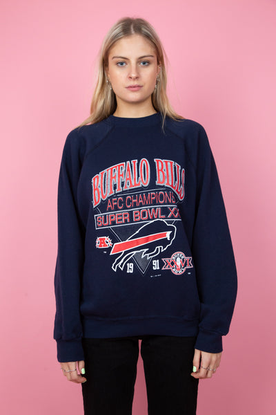 Navy sweater with large red and white Buffalo Bills graphic on the front. circa.1991. magichollow.