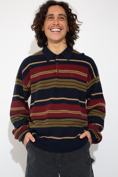 striped henley-style nautica knit jumper