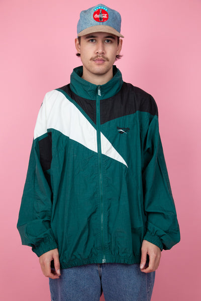 oversize teal reebok jacket with white and black panels and embroidered logo detailing - vintage - magichollow