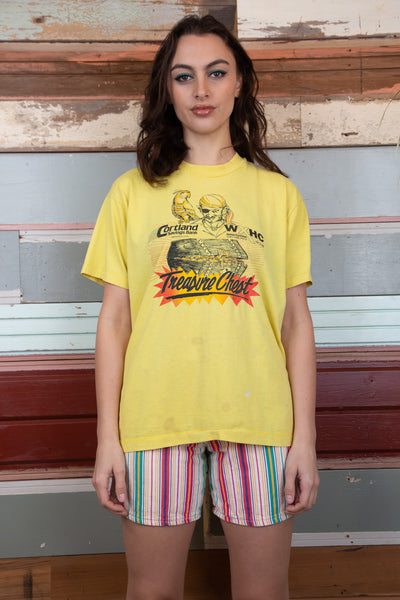 Model wearing vintage pirate tee, magichollow