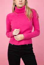 Load image into Gallery viewer, female model wearing vintage hot pink turtle neck cashmere sweater
