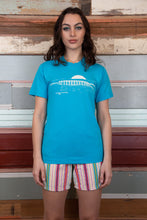 Load image into Gallery viewer, Blue vintage tee with white front and back graphics. magichollow.