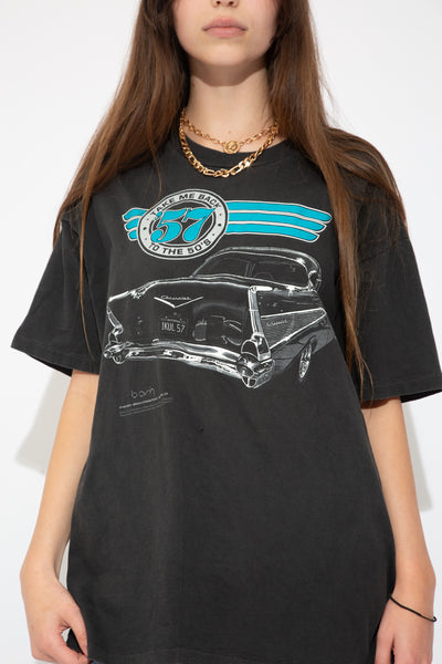 faded black tee with black and white chevy graphic on front