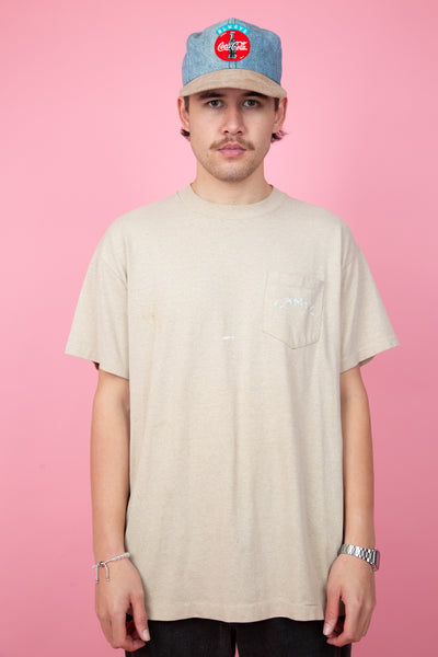Vintage camel tee in a light brown colour-way. 90s vintage. shop now. magichollow.
