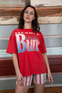 red single stitch tee with Atlanta braves graphic on the front. 1991 vintage - magichollow
