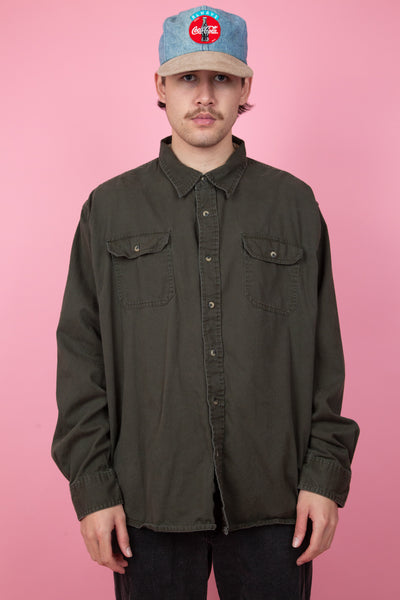 Dark green vintage button up. magichollow. shop now