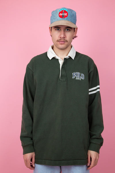 dark green rugby jersey with white detailing and embroidered polo text - magichollow