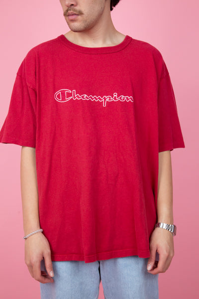 Red oversize champion spell-out tee - vintage - magichollow