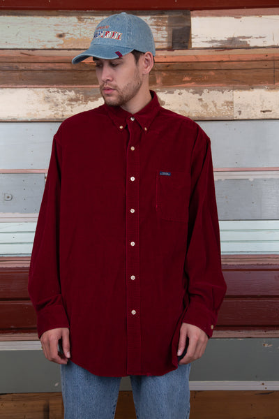 maroon corduroy button up