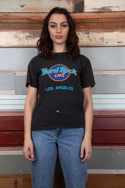 faded black hard rock cafe tee with the iconic Hard Rock Cafe logo on the front and