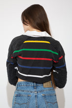 Load image into Gallery viewer, cropped striped rugby with embroidered ralph emblem on left chest