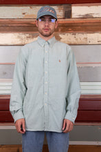 Load image into Gallery viewer, pastel green button up with embroidered ralph lauren logo on left chest