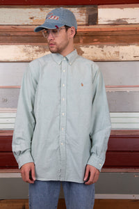pastel green button up with embroidered ralph lauren logo on left chest