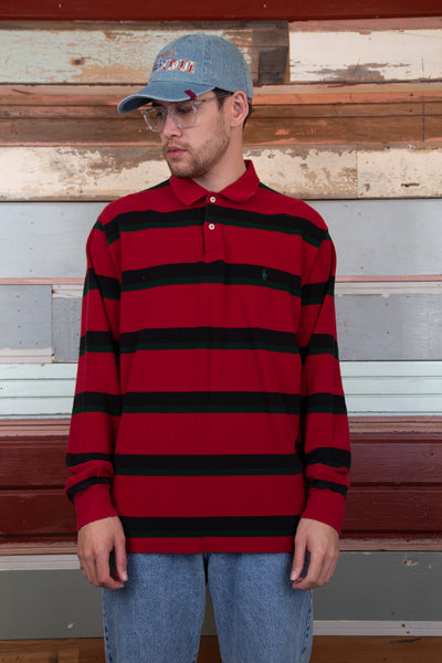 red striped polo with embroidered RL emblem on left chest