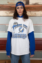 Load image into Gallery viewer, Tampa Bay NHL tee in grey marl with blue graphics. 1992 vintage magichollow.