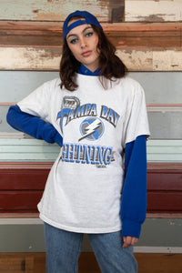 Tampa Bay NHL tee in grey marl with blue graphics. 1992 vintage magichollow.