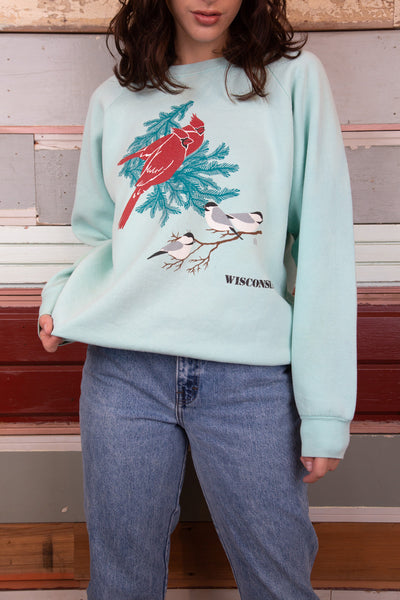 model is wearing a teal sweater featuring three birds on the front. Two red ones and tree cute grey ones.