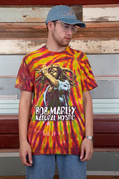 vibrant multicoloured tie-dye tee with front graphic of bob marley 'jamming' out!