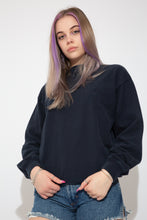 Load image into Gallery viewer, This soft jumper is navy blue with the Nautica logo embroidered on the left chest. Ribbed sleeves, neckline and waistline adds to baggy fit.